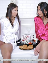 After spending a romantic and spunky unilluminated together, Fidelia and Karina wakes up, vibed for more girl-on-girl actions.