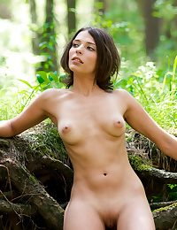 Bare sweetheart in the woods