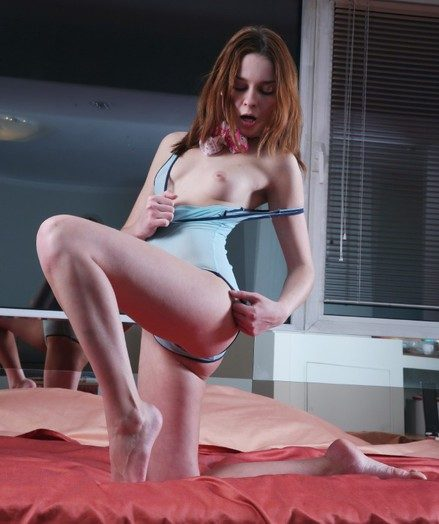 Jaw-dropping ginger-haired gal strips their way taut bondage suit