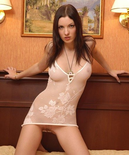 Beautiful Polina undresses say no to taut see-thru bod garment