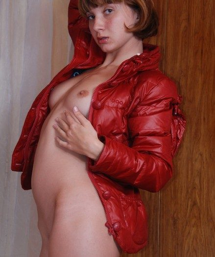 Puny nude immature Vera attempting her fresh crimson jacket