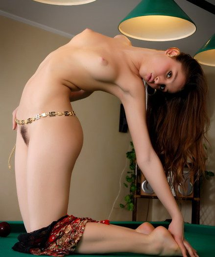 Super-sexy gipsy honey is getting naked on someone's flesh unify table
