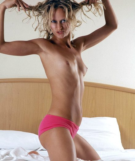 Curly outcast blond babe Ira getting naked