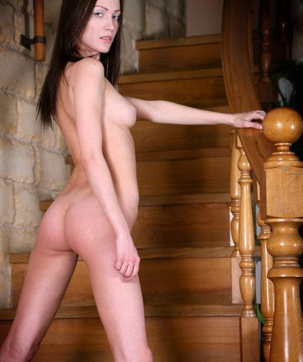 Anita dark haired entirely unwrapping on the stairs