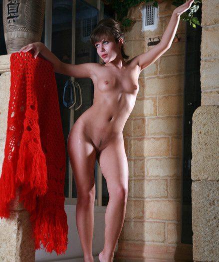 Diminutive jugged dark-haired nubile Nata stretching her gams