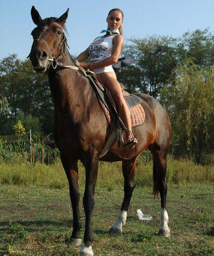 Bare wondrous big-chested Alena railing pony