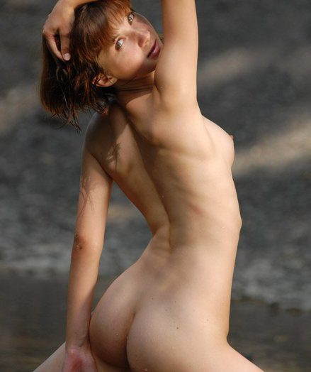 Skinny, young, fresh Vera posing naked on the beach